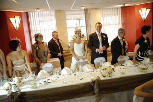 Couple enter the reception party