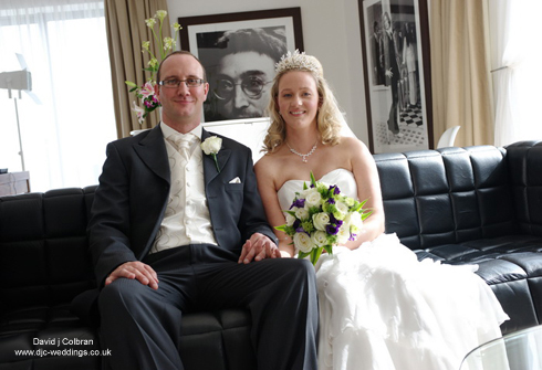Happy couple in bridal suite