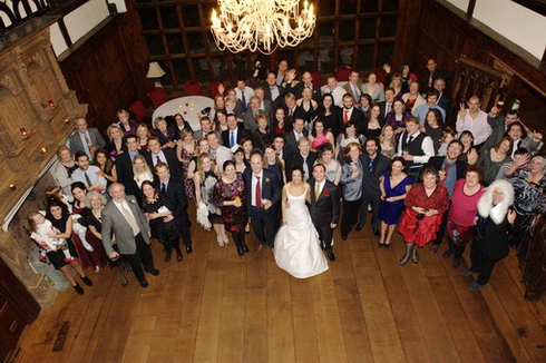 Group shot of everyone at wedding