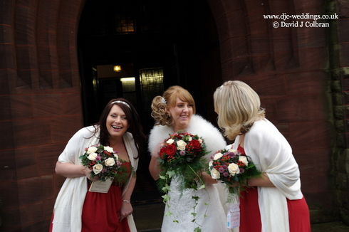 Bridal party arrive at St John's church, Walton, Liverpool