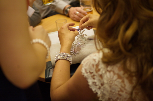 final touches at wedding reception