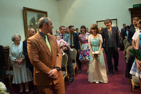 Bride arrives up the aisle