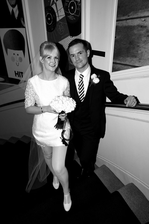 Black and white photograph of the happy couple